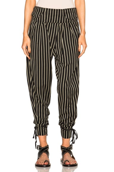 Isabel Marant Rodrys Embroidered Stripe Pants in Black