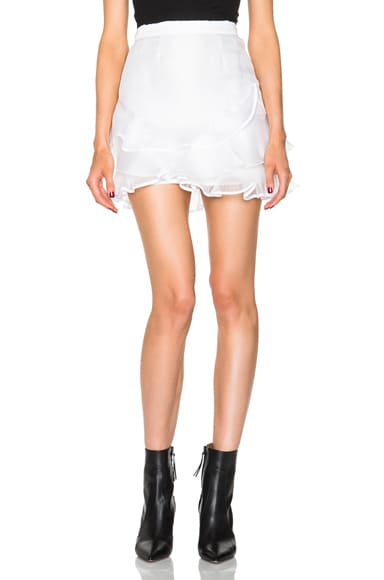 Isabel Marant Vetra Pleated Organza Skirt in White