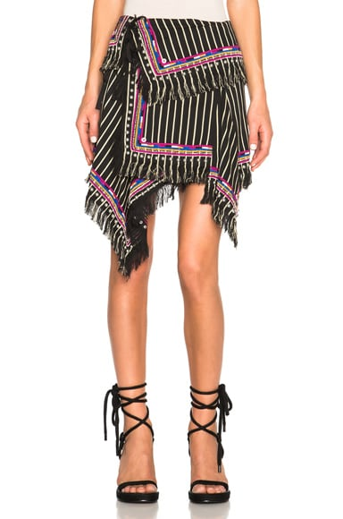 Isabel Marant Raffi Embroidered Stripe Skirt in Black