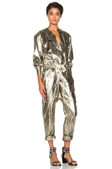 Isabel Marant Nubia Metallic Silk Jumpsuit in Gold