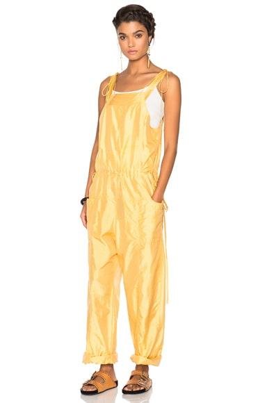 Isabel Marant Kyles Sporty Silk Jumpsuit in Light Yellow
