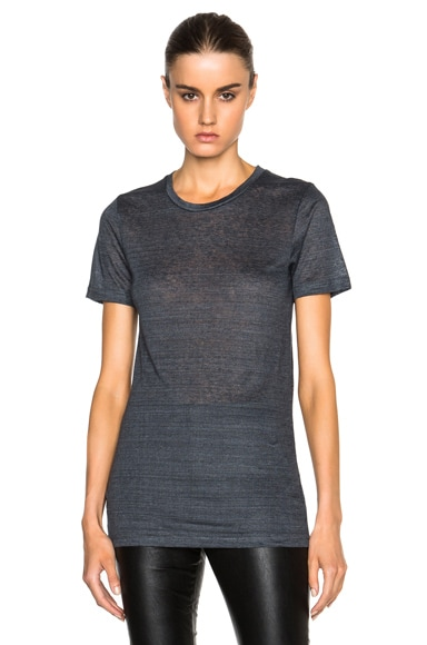 Isabel Marant Madras Linen Tee in Anthracite