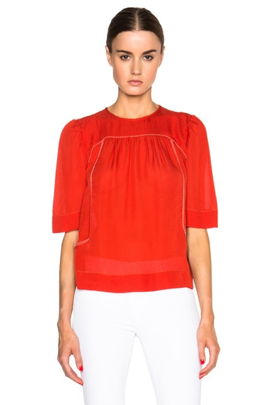 Isabel Marant Midja Flare Sleeve Top in Orange