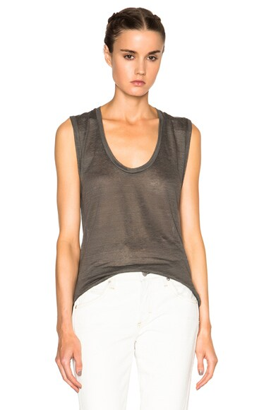 Isabel Marant Maik Linen Tee in Anthracite