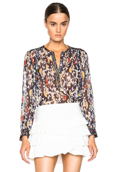 Pilay Printed Patchwork Silk Blouse