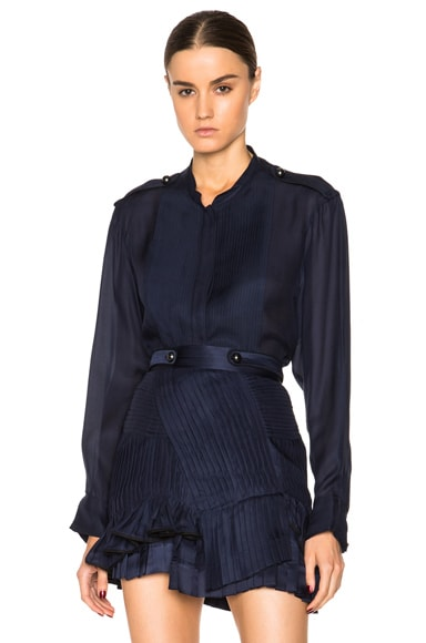 Isabel Marant Sophia Satin Mousseline Top in Midnight