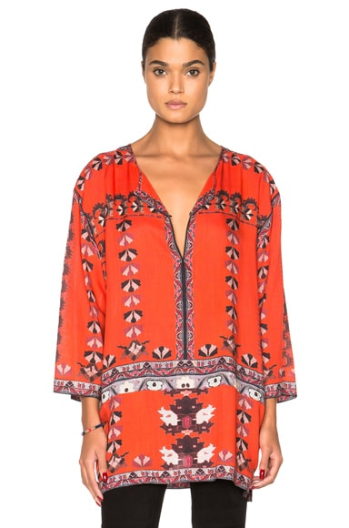 Isabel Marant Sofia Printed Story Blouse in Red