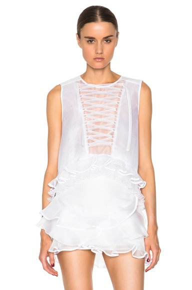 Isabel Marant Vienna Pleated Organza Top in White