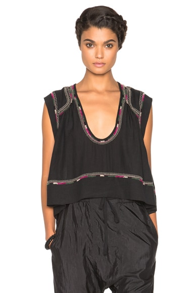 Isabel Marant Curtis Light Silk Bourette Top in Black