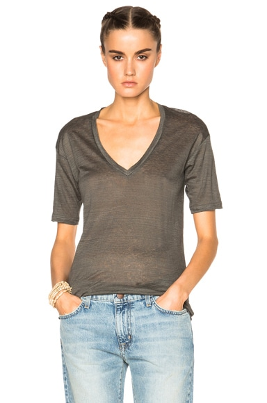 Isabel Marant Maree Linen Tee in Anthracite