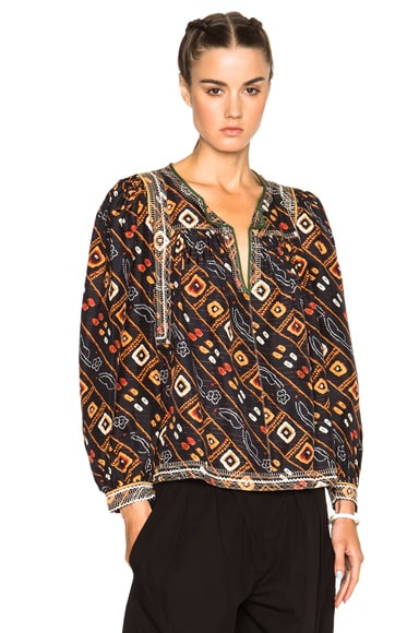 Isabel Marant Tyron Embroidered Printed Silk Blouse in Black