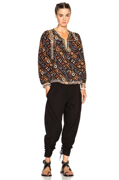 Tyron Embroidered Printed Silk Blouse