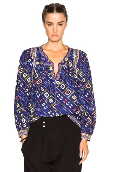 Isabel Marant Tyron Embroidered Printed Silk Blouse in Blue