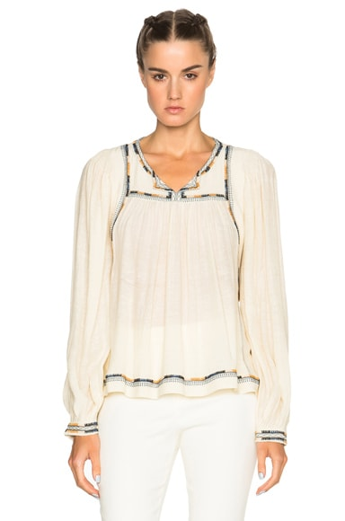 Isabel Marant Chaz Light Silk Bourette Blouse in Ecru