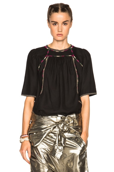 Isabel Marant Clairy Light Silk Bourette Blouse in Black