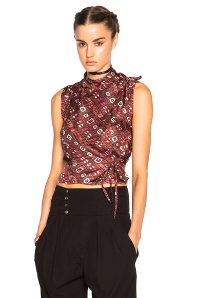 Isabel Marant Theo Stole Twill Top in Burgundy