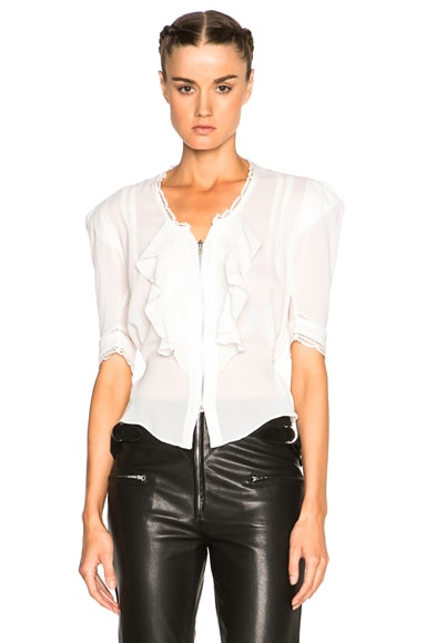 Isabel Marant Qing Silk & Lace Blouse in Ecru