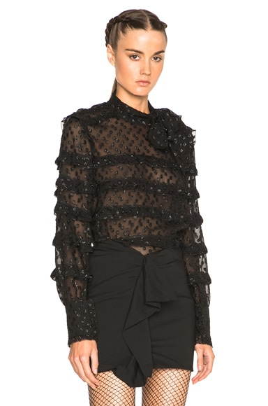 Isabel Marant Lurex Dot Alba Top in Black