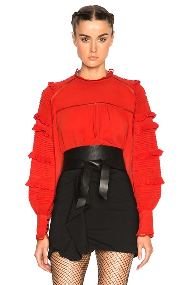 Isabel Marant Qimper Silk & Lace Blouse in Red