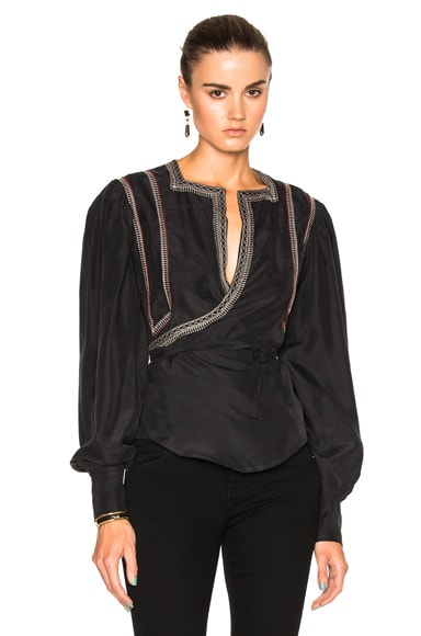 Isabel Marant Lisa Jailsalmer Silk Blouse in Black