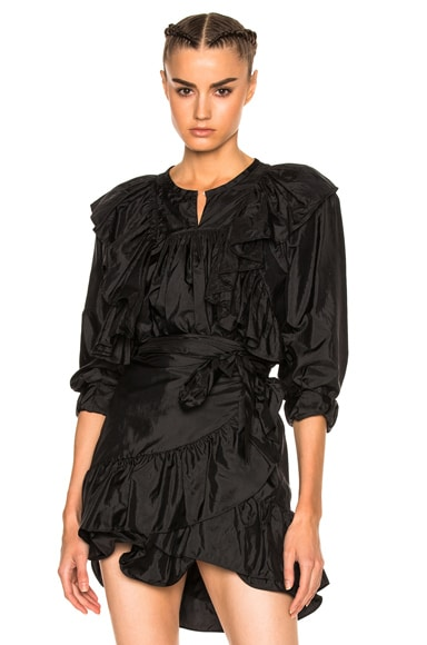 Isabel Marant Arlington Modern Silk Top in Black