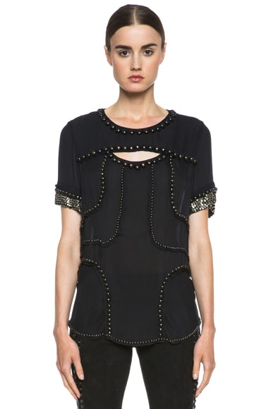 Qweeny Silk Studded Top