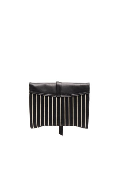 Harlin Striped Canvas Clutch