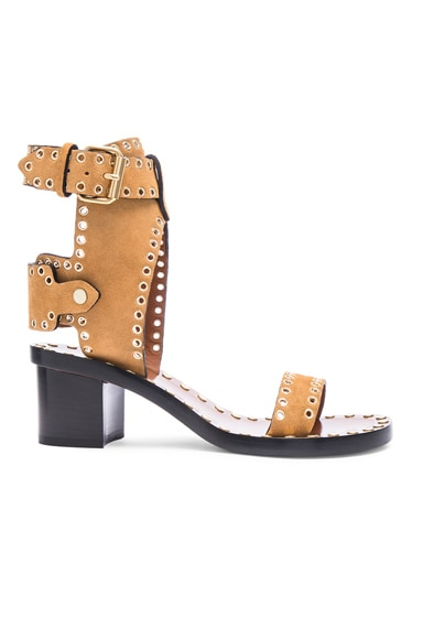 Isabel Marant Jaeryn Eyelet Velvet Sandals in Peach