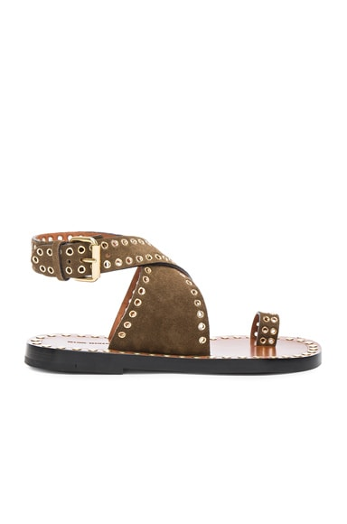Isabel Marant Jools Eyelet Velvet Sandals in Brown