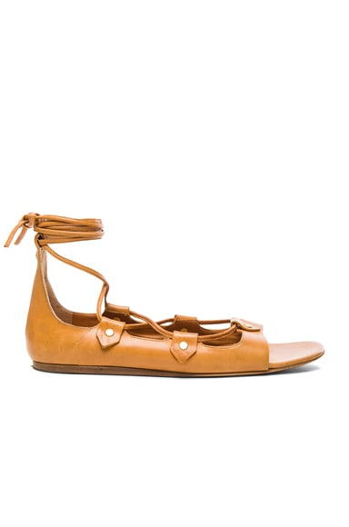 Isabel Marant Alisa Leather Flats in Amber Yellow