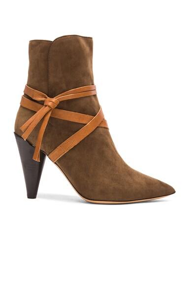 Isabel Marant Nerys Velvet Boots in Bronze