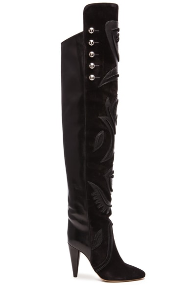 Isabel Marant Becky Thigh High Farrah Leather Boots in Black