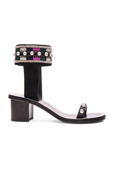 Isabel Marant Joss Embroidery Sandals in Black