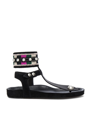 Isabel Marant Lise Embroidery Sandals in Black