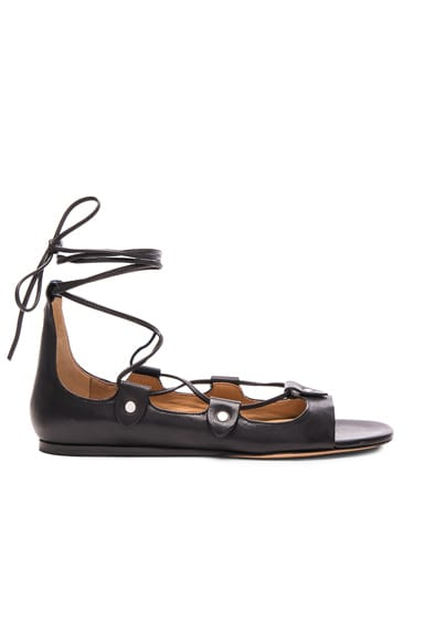 Isabel Marant Alisa Leather Flats in Black