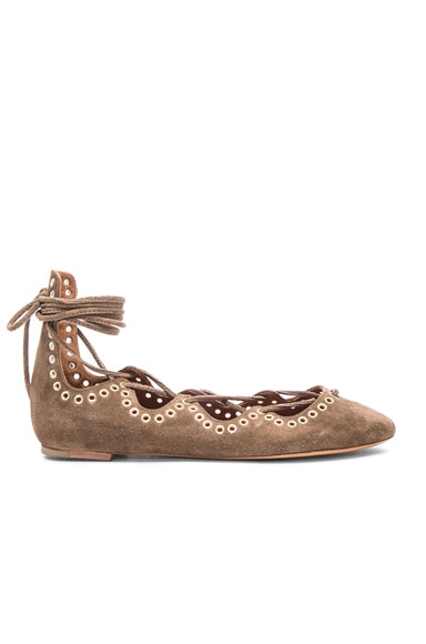 Isabel Marant Leo Eyelet Velvet Flats in Brown