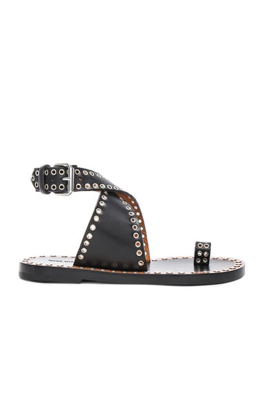 Isabel Marant Jools Eyelet Leather Sandals in Black