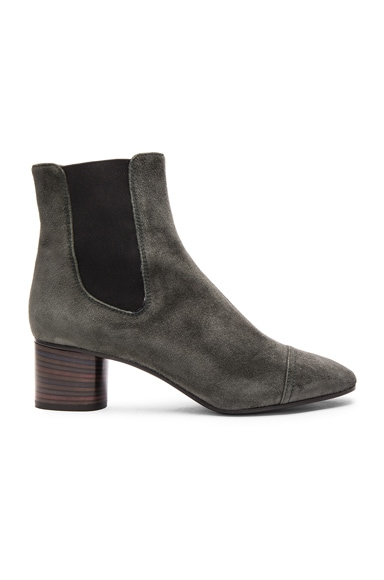Isabel Marant Danae Velvet Booties in Anthracite