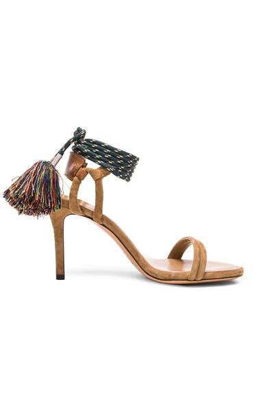 Isabel Marant Suede Aura Cook Heels in Camel