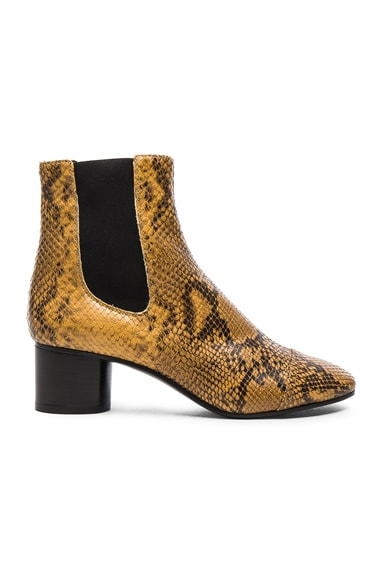 Isabel Marant Danae Printed Python Booties in Amber Gold