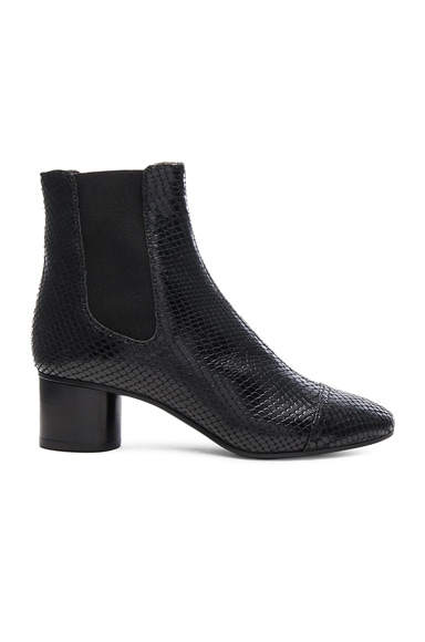 Isabel Marant Danae Printed Python Booties in Black