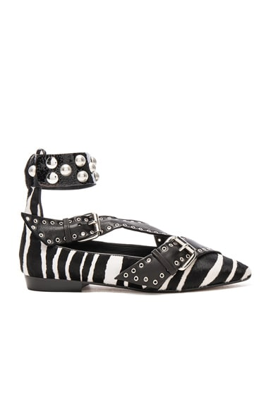 Isabel Marant Calf Hair Linzy Eyelet Flats in Black & White