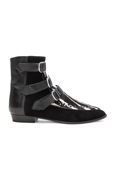 Isabel Marant Suede Rowi Mods Boots in White & Black
