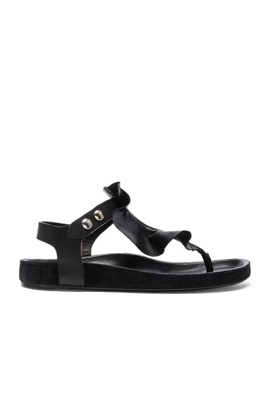 Isabel Marant Leather Leakey Sandals in Black