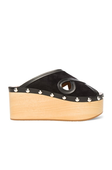 Isabel Marant Suede Zipla Wedge Sandals in Black