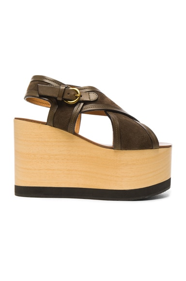 Isabel Marant Suede Zlova Wedge Sandals in Bronze
