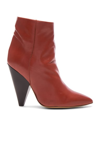 Isabel Marant Leather Leydoni Booties in Rust