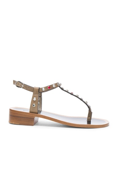 Isabel Marant Leather Aelith Sandals in Bronze