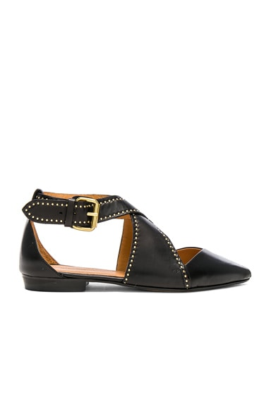 Leather Lymoa Ankle Strap Flats