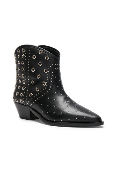 Domya Studded Leather Ankle Boots